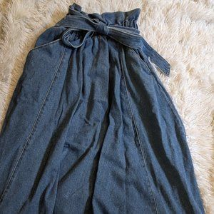 Long Jean Skirt with Pockets